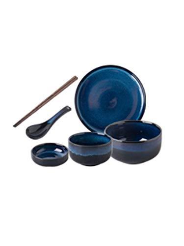6-39 Piezas Estilo nórdico Juego de vajillas Mar Azul Azul Cambio de Esmalte Proceso Redondo Lujoso Cerámico Placas de Tazón Coloque Vajilla Conjunto, Servicio para 1-8 (Size : 6pieces)