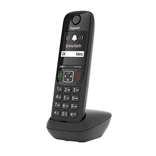 Gigaset AS690HX, Schnurloses IP-Telefon zum Anschluss an DECT BASIS, kontrastreiches Display mit Jumbomodus Brillante Audioqualität, einstellbare Klangprofile, Freisprechfunktion, Anrufschutz schwarz