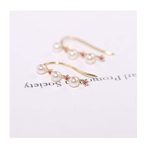 ffshop Earring Exquisite 2-3mm Seawater Pearl Earrings Female 18K Gold/ruby Gift, Simple and Small Fashion Jewelry