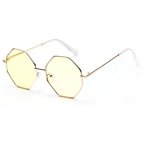 TYJYY Gafas de Sol Gafas De Sol Poligonales De La Vendimia Mujeres Lente Clara Gafas De Sol Mujer Rhombus Retro Diseño Pequeño Sunglass Hexágono Marco De Metal