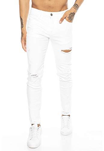 Red Bridge Herren Jeans Hose Slim-Fit Röhrenjeans Denim Destroyed M4235 Weiß W36L32
