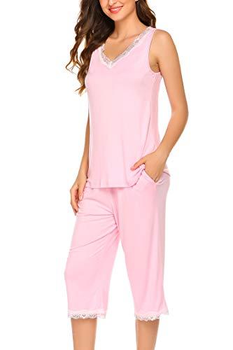 Hotouch Pjs for Women Cotton Capri Sleepwear Women Capri Pajamas Set with Pockets Pink L