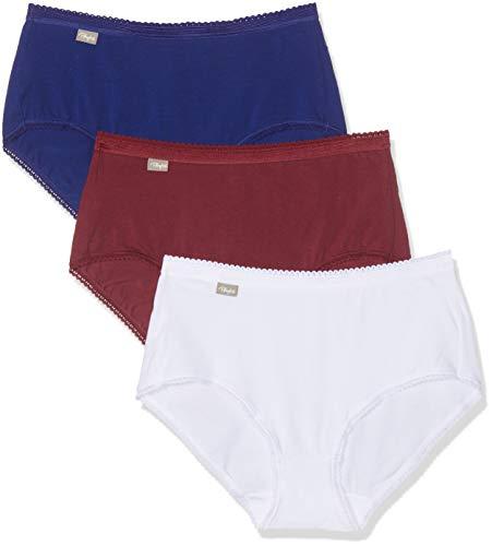 Playtex Culotte Midi Coton Stretch X3 Slip, Multicolore (Blanc/Bleu Intense/Rouge Romance 0bb), 3 (Taglia Produttore: 42) (Pacco da 3) Donna