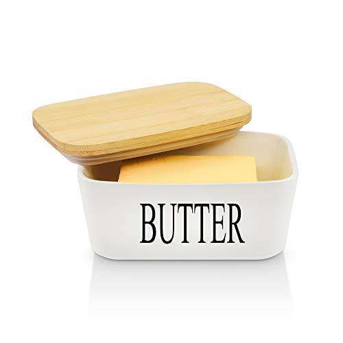 Panda Grip Butterdose Porzellan weiß, Keramik Butterdose für 250 g Butter Holzdeckel mit Silikon-Dichtlippe (Butterdose-1)