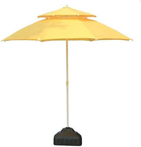 Garden Parasol Sombrillas 9' Playa/Piscina/Jardín/Patio Paraguas Doble Superior, Agua/Resistente a los UV Mercado al Aire Libre Tabla Paraguas (Color : Yellow, Size : Ft/270cm)