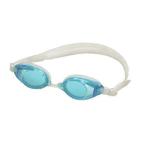 Occhialini da nuoto azzurri in pvc e lenti azzurrate, occhiali da nuoto regolabili con cinturino, occhiali piscina nuoto per adulti e bambini,occhialini piscina impermeabili in pvc,pack in pvc rigido