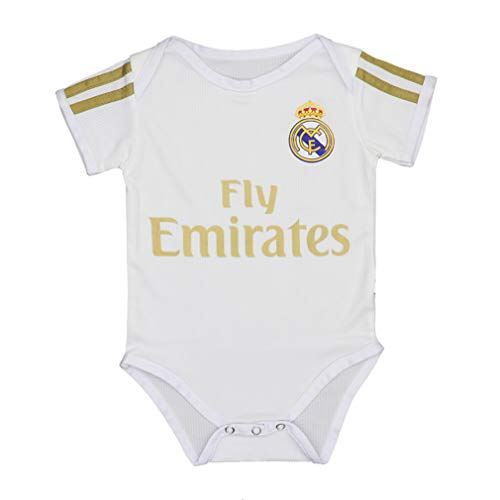 Babyjs Real Madrid Bodysuit Soccer Fan Baby Suit for Romper Infant & Toddler 9-18Monthes White