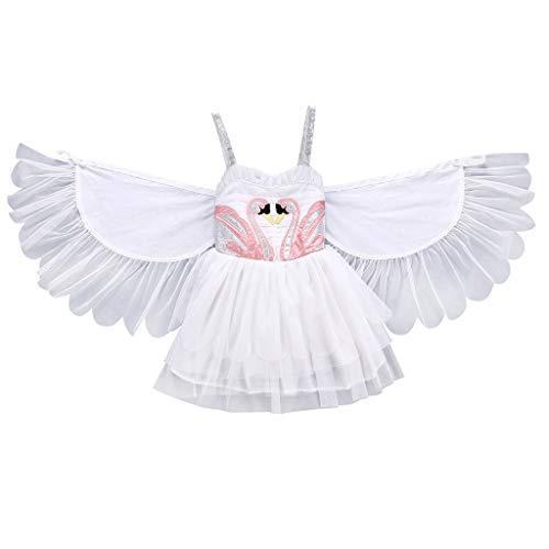 YWLINK Bebé NiñA Vestido Dibujos Animados Bordado Alas Princesa Vestir Desmontable Cisne Sin Mangas para NiñOs Mezcla De AlgodóN Disfraces Rendimiento CumpleañOs Aire Libre(Blanco,12-18 meses/90)