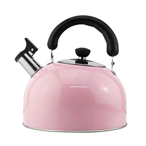 tea kettle Bouilloire for Thé Stove Top Acier Inoxydable - Sifflet Bouilloire À Thé, Poignée Ergonomique Résistant À La Chaleur, Maison Cuisine Bouilloire/Rose (Couleur : Rose, Taille : 3L)