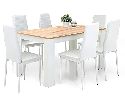 Dining Table And Chairs Set 6 White Pu Leather Foam Ribbed High Back Padded Chairs With 16mm Thick Table Top 140x80cm Long Oak Wooden Dining Table Modern Design Dining Room Sets Home Furniture