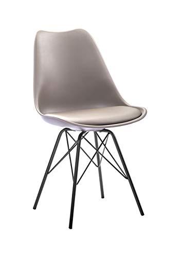 SAM Schalenstuhl Lerche, Taupe, integriertes Kunstleder-Sitzkissen, Schwarze Metallfüße, Esszimmerstuhl im skandinavischen Stil