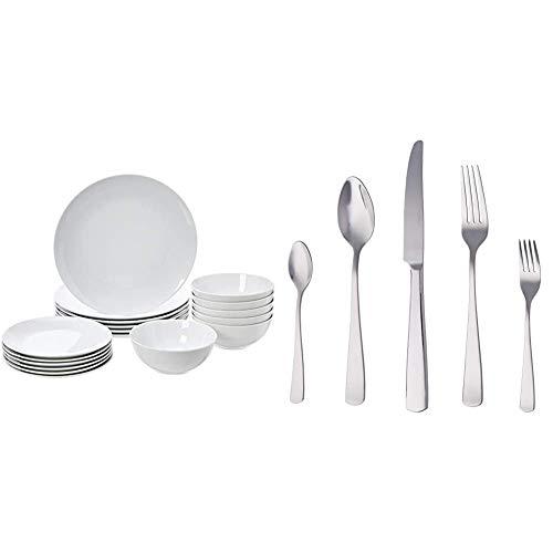 Amazon Basics - Geschirrservice, 18-teilig, Weißes Porzellan Coupe, für 6 Personen & Essbesteck-Set mit Eckiger Rand, Edelstahl, 20-teiliges Set, für 4 Personen