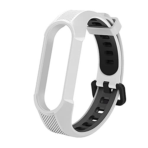 Correa para mi banda MI 6 5 4 3 Pulsera de silicona Sport Respirable Reloj de reemplazo de banda de reloj (Color : D1 White Black, Size : For Miband 5)