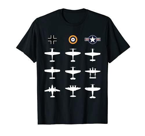 Berühmte WW2 Warbirds P51 Mustang, Spitfire, ME 109 Geschenk T-Shirt