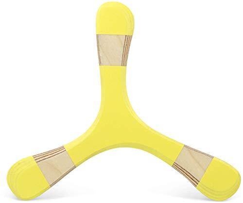 Bumerang TROLL aus Holz, 3mm, senfgelb, Rechtshänder, Bumerang für Kinder und Anfänger