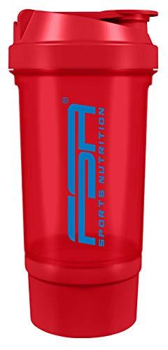 Protein Shaker mit Pulverfach für cremige Shakes mit Siebeinsatz und Behälter, BPA frei und auslaufsicher von FSA Nutrition – Rot