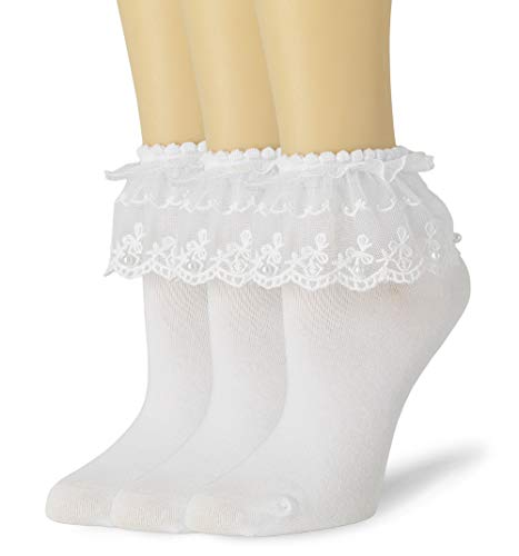VIVIKI Womens Lace Ruffle Socks, Cute Ankle Sock, Frilly Socks with Pearls (White, 3 - Pairs, Pearl)