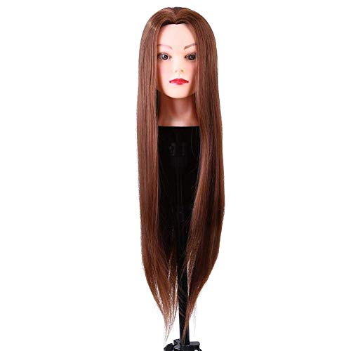 Mannequin Head with Hair,Synthetic Fiber Dummy Head,Head For Hairdresser Training Or Makeup Artist, Suitable For Practice Cutting Braiding