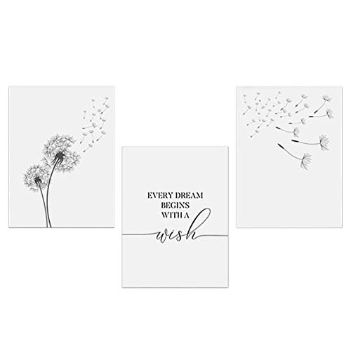 NUOBESTY Impresión de Arte de Flor de Diente de León Soplando en El Viento Conjunto de Póster de Lienzo Impresión de Arte de Flor Abstracta Pintura de Pared de Arte de Diente(Colores aleatorios)