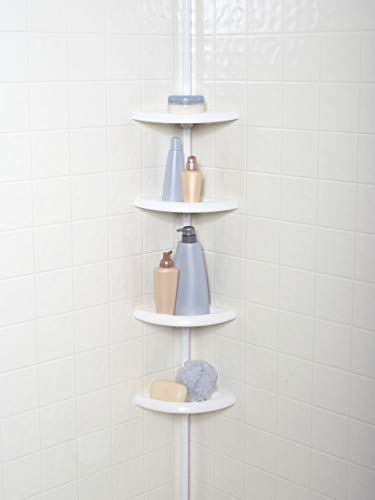 Mainstays 4-tier Tub and Shower Tension Pole Caddy, White