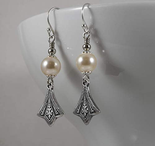 Art Deco Edwardian style Earring with Austrian Crystal Element Pearls