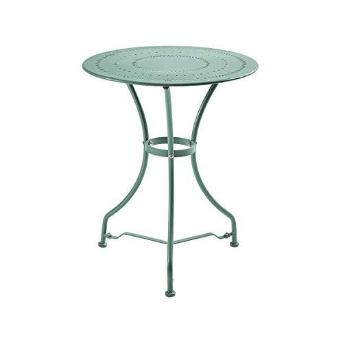 Butlers Century Bistrotisch - salbeifarbiger Tisch aus Eisen - für Garten und Balkon - französischer Stil