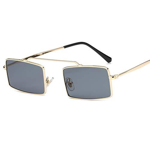 YTYASO Gafas de Sol de Metal para Mujer, Gafas de Sol cuadradas pequeñas para Hombre, Gafas de Lente Rosa Amarilla, Gafas de Montura pequeña, Gafas