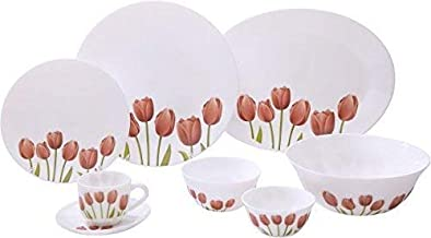 Diva from La Opala Tulip Garden Ivory Collection Opalware Dinner Set, 27 Pieces, White