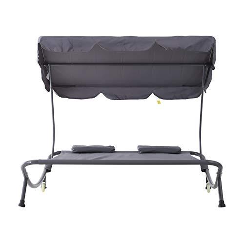Outsunny Doppelliege Sonnenliege Relaxliege rollbar mit Dach Stahl Grau 200 x 173 x 155cm - 5