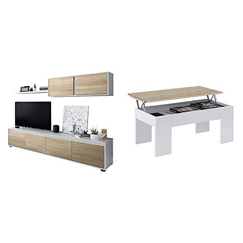 Habitdesign 0F6663A - Mueble de salón Moderno, modulos Comedor Alida + 0F1640A - Mesa de Centro elevable acabada en Color Roble Canadian, Medidas 45 x 100 x 50 cm