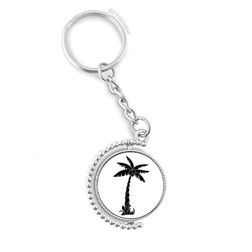 DIYthinker Pflanze Kokosnuss-Baum-Schwarz Silhouette Drehbare Schlüsselanhänger Ringe 1.2 Zoll x 3.5 Zoll Mehrfarbig