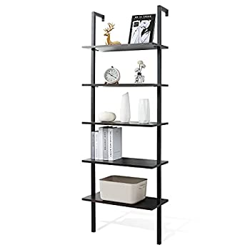 Haton Ladder Bookshelf 5 Tier Modern Black Bookcase Open Ladder Shelf with Stable Metal Frame 70.86 Inches Display Wood Shelving Unit Storage Rack Against Wall for Home Office