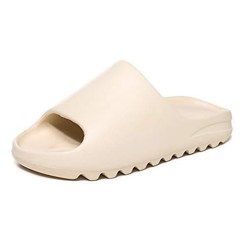 RUNSOON Unisex Slide Sandal Men Women Summer Slippers House Shoes for Adult Couples Indoor Outdoor, Beige