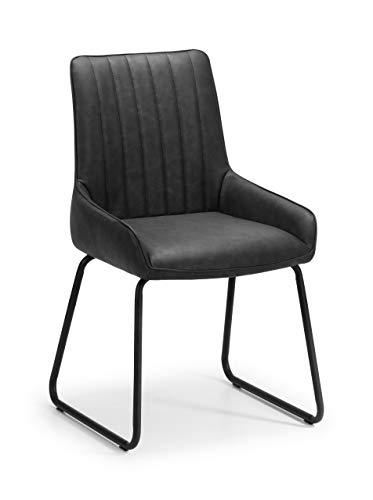Julian Bowen Soho Set mit 2 Esszimmerstühlen, Kunstleder und Metall, Schwarz, Einheitsgröße