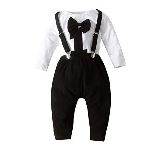 Chennie Baby Jungen 1. Geburtstag Outfits Fliege Strampelanzug Strumpfhose Gentleman Kleidung Set für Fotofotografie (Schwarz, 9-12 Monate)