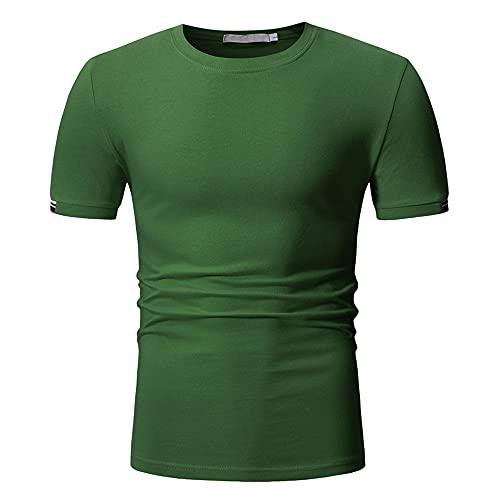 Musculosa Shirt Hombre Verano Slim Fit Moderna Hombre Deportiva Shirt Cuello Redondo Color Sólido Manga Corta Funcional Camisa Básica Sin Cuello Shirt Que Absorbe Correr Shirt E-Green L