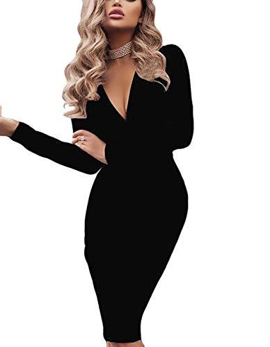 Maglione Donna Casual,Felpe Abito Donna,Vestiti Eleganti Vintage,YanHoo Vestito da Sera da Sera a Maniche Lunghe con Maniche Lunghe e Maniche Lunghe con Cintura Vino Rosso Grigio Nero S//M//L//XL