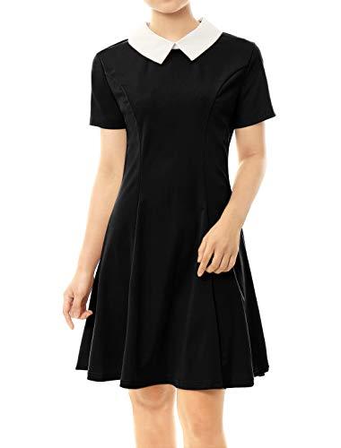 Allegra K Damen A Linie Kurzarm Panel Bubikragen Minikleid Kleid Schwarz M(EU 40)