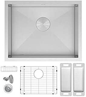 """ZUHNE 23x18 Inch Laundry Utility, Wet Bar, Prep, RV Zero Radius Single Bowl Under Mount Stainless Sink W. Grate Protector, Caddy, Colander Set, Drain Strainer and Mounting Clips, Fits 27"""" Cabinet"""