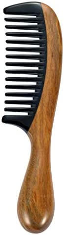 Louise Maelys Sandalwood Black Buffalo Horn Wide tooth Hair Comb for Curly Hair product image