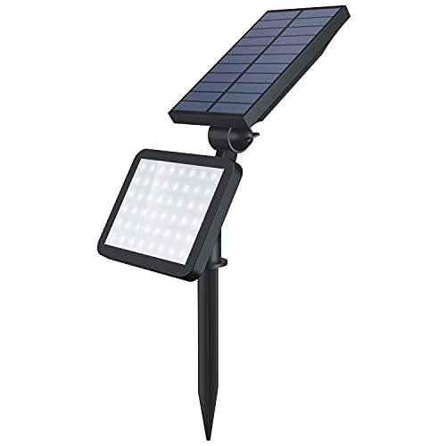 OUSFOT Luz Solar Exterior 48 LEDs Foco Solar para Jardín IP65 Impermeable con 5 Modos para Puerta de Entrada Patio Garaje Valla Cubierta