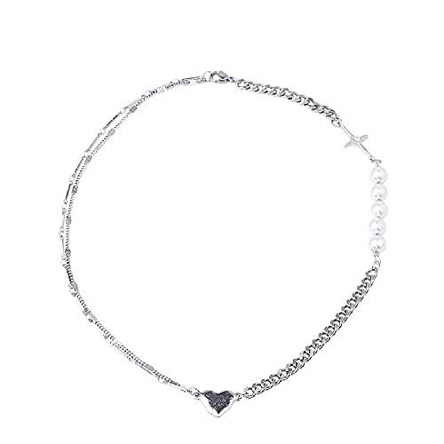 N\C Collar de perlas luminosas para mujer temperamento simple clavícula cadena collar joyería