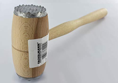 Fackelmann Fleischhammer, Fleischklopfer aus Buchenholz, Schnitzelklopfer mit genoppter und flacher Klopffläche (Farbe: Braun), Menge: 1 Stück