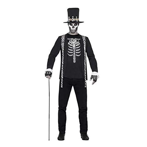 SMIFFYS Costume Stregone, Nero, con giacca, T-Shirt finta, cappello, collana e guanti