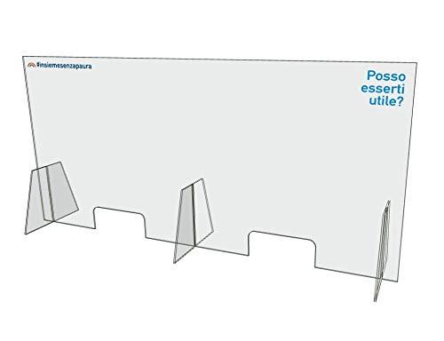 Generico Barriera Protettiva in plexiglass Trasparente Dim 150x70cm (Trasparente con Stampa #03)