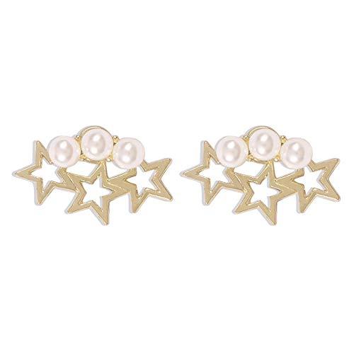 Yhhzw Pendientes De Perlas De Imitación De Estrellas De Metal Dorado Para Mujer Pendientes De Botón De Joyería De Fiesta De Boda Pendientes
