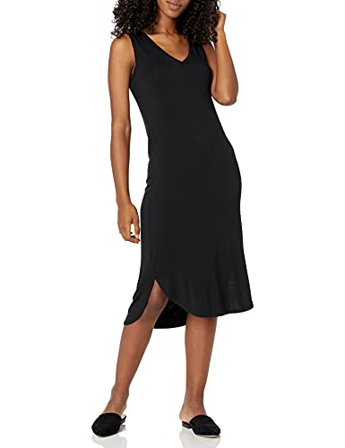 Amazon Brand - Daily Ritual Women's Jersey Sleeveless V-Neck Midi Dress, Black, Small