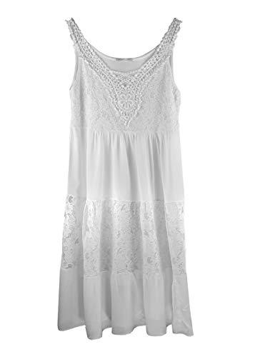 Heimatliebe Damen Kleid - Trägerkleid mit Spitze, Farbe:Weiß, Größe:L