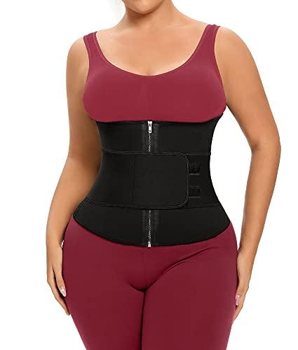 YIANNA Waist Trainer for Women Neoprene Underbust Double Tummy Control Sweat Trimmer Belt Workout Cincher Training Body Shaper,YA2227-Black-XXL