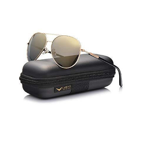 LUENX Aviator Sunglasses for Women Men Polarized Mirrored Gold Lens Gold Metal Frame Large 60mm